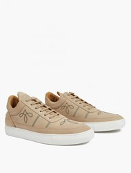 Filling Pieces Nude Embroidered Leather Hi Top Sneakers