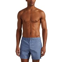 Solid And Striped Chambray Effect Long Board Shorts Lt. Blue