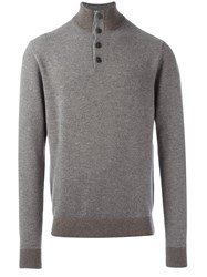 Hackett Mock Neck Jumper Grey