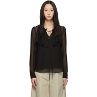 See By Chloe Black Georgette Ruffle Blouse