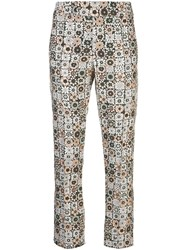 Smythe Graphic Print Straight Leg Trousers Brown