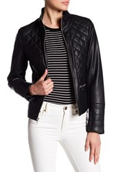 Kenneth Cole Stand Up Collar Quilted Jacket Black