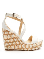 Jimmy Choo Portia Floral Embellished Wedge Sandals White Multi