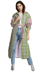 Natasha Zinko Padded Oversized Plaid Robe Coat Green Pink