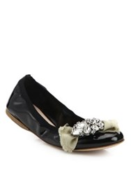 Miu Miu Jeweled Patent Leather Ballet Flats Black