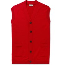 Connolly Goodwood Wool And Cashmere Blend Sweater Vest Red