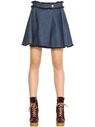 See By Chloe Fringed Cotton Denim Skort