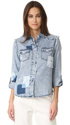 Generation Love Clarke Button Down With Patches Denim