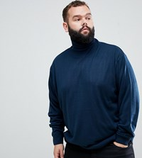 Jacamo Roll Neck Knitted Jumper In Navy