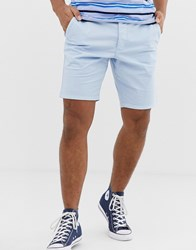 French Connection Slim Fit Peached Cotton Chino Shorts Blue