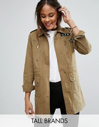 Brave Soul Tall Military Jacket With Patches Khaki Green