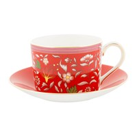 Wedgwood Wonderlust Teacup And Saucer Crimson Jewel