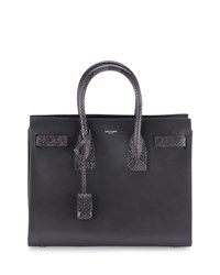 Saint Laurent Sac De Jour Small Grained Leather Python Satchel Bag Dark Anthracite