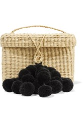 Nannacay Baby Roge Pompom Embellished Woven Raffia Tote Beige
