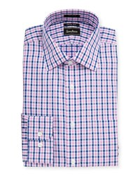 Neiman Marcus Trim Fit Regular Finish Plaid Cotton Dress Shirt Pink