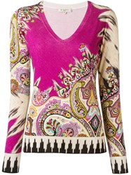 Etro V Neck Knitted T Shirt