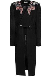 Temperley London Double Breasted Embroidered Wool Coat Black