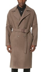Robert Geller Daniel Zipper Sleeve Trench Coat Warm Grey