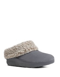 Fitflop Woolen Collar Slip On Mules Grey