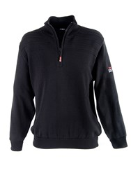 Oscar Jacobson Orson Lined Half Zip Jumper Black And Ivory