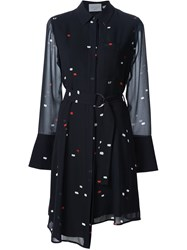 Grey Jason Wu Dash Print Belted Shirt Dress Black