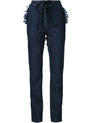 Tomas Maier Denim Straight Leg Trousers Blue