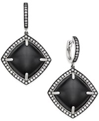 Macy's Onyx 16Mm And Swarovski Zirconia Geometric Drop Earrings In Sterling Silver Black