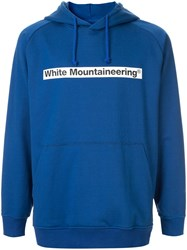 White Mountaineering Logo Patch Drawstring Hoodie Blue