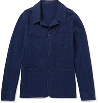 Officine Generale Vincent Slim Fit Cotton Seersucker Overshirt Blue