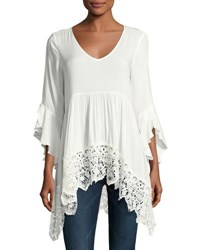 Neiman Marcus 3 4 Sleeve Scoop Neck Blouse Ivory
