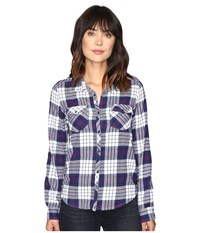 Roxy Squary Cool Long Sleeve Flannel Shirt Scotty Potent Purple Women's Clothing