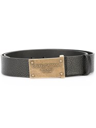 Dolce And Gabbana Embossed Buckle Belt Black