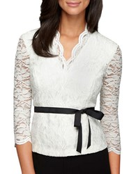 Alex Evenings Plus Elbow Sleeve Lace Knit Top Ivory