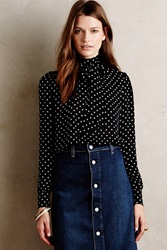 Alexa Chung For Ag Gordonderry Silk Blouse Black Motif