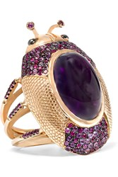 Daniela Villegas 18 Karat Rose Gold Amethyst Ruby And Sapphire Ring