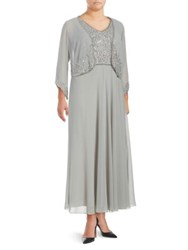J Kara Plus Two Piece Beaded And Sequined Jacket And Gown Set Grey
