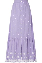Miguelina Aiden Embroidered Cotton Voile Maxi Skirt Purple