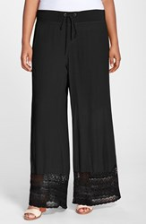 Plus Size Women's Xcvi 'Noe Valley' Lace Hem Wide Leg Pants Black