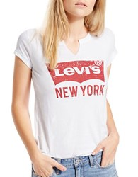 Levi's Outlet Nyc White Short Sleeve Tee Beige