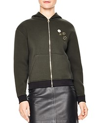 Sandro Polvo Contrast Color Trim Pin Embellished Hoodie Olive Gree