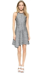 Derek Lam Sleeveless Asymetrical Dress Black White
