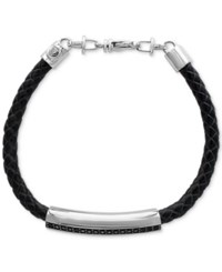 Effy Black Sapphire Leather Bracelet 5 8 Ct. T.W. In Sterling Silver