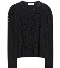 Valentino Embellished Lace And Jersey Sweater Black