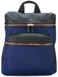 Paul Smith Jeans Front Pocket Structured Backpack Blue