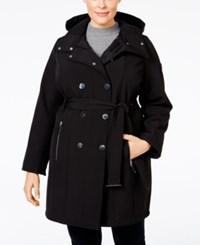 Calvin Klein Plus Size Double Breasted Water Resistant Hooded Coat Black