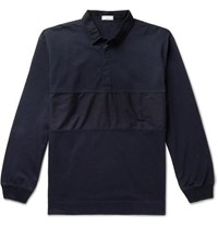 Nanamica Rugger Panelled Cotton Jersey Rugby Shirt Navy