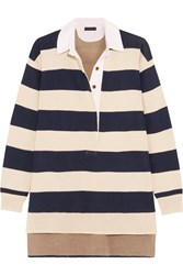 J.Crew Garret Oversized Striped Merino Wool Polo Top Navy