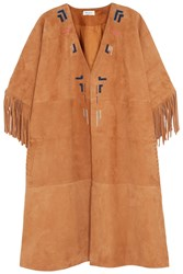 Paul And Joe Tarik Embroidered Suede Jacket Brown