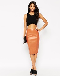 Asos Pencil Skirt In Leather Look With Seam Details Tan