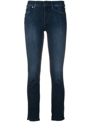 7 For All Mankind Cropped Skinny Jeans Blue